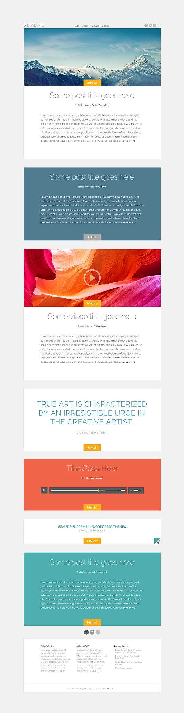 Serene - WordPress šablona od Elegant Themes zdarma